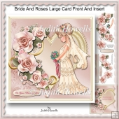 Bride And Roses Large Card Front And Insert