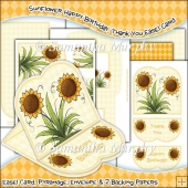 Sunflower Happy Birthday, Thank You JPEG Easel Card Download