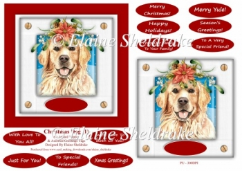 Christmas Puppy Dog (1) 6 x 6 Card Topper With Masses Of Greetin