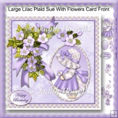 Large Lilac Plaid Sue With Flowers Card Front