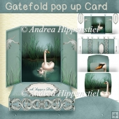 Gatefold pop up Card Swan