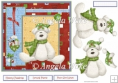 Christmas bear and bauble 7x7 card