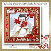 Sweeping Snowman And Poinsettia Red Card Front