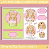 CDS87 Jemima Teddy A5 Card Front with Pyramage