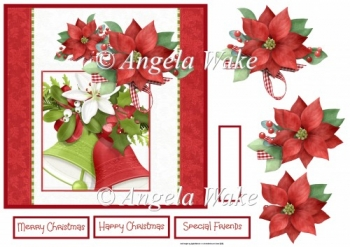 Christmas bells and poinsettias