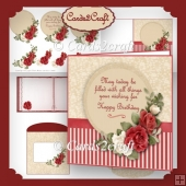 Red roses quare card set
