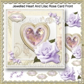 Jewelled Heart And Lilac Rose Card Front