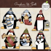 Christmas Penguin ClipArt Graphic Collection