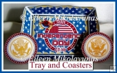 Patriotic Picnic Tray and Coasters Set with Directions