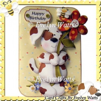 Cute Dog Over The Edge Card With Assorted Greetings Tags