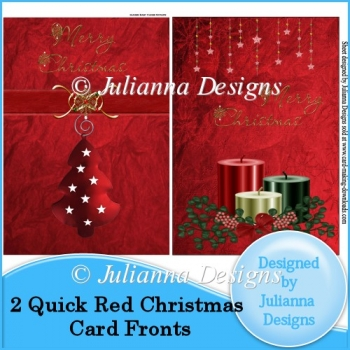 2 Quick Red Christmas Card Fronts
