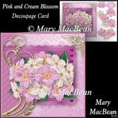 Pink and Cream Blossom Decoupage Card Front