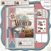 TRAVEL AROUND THE WORLD A5 Decoupage & Insert Mini Kit