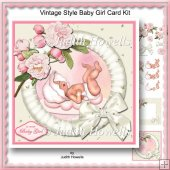 Vintage Style Baby Girl Card Kit