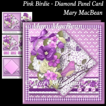 Pink Birdie - Diamond Panel Card