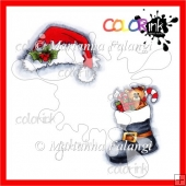 Santa's Boot and hat colored digital stamps