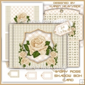 Ivory Rose Shadow Box Card
