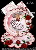 1950's Red Hat Lady Scalloped Round Easel Card Mini Kit
