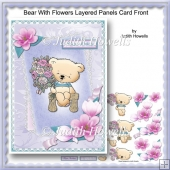 Bear With Flowers Layered Panels Card Front