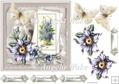 Vintage purple flowers and butterfly 7x7