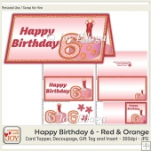 DL size Red Orange 6th Birthday Angel