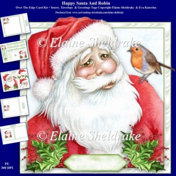 Happy Santa & Robin 8 x 8 Over The Edge Card Kit With Extras