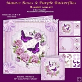 Mauve Roses & Purple Butterflies