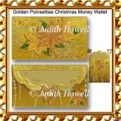 Golden Poinsettias Christmas Money Wallet