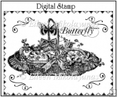 Butterfly Kisses Digital Stamp for Cards, Tags, Crafts