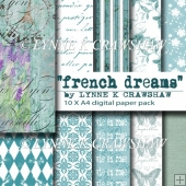 FRENCH DREAMS - 10 x A4 digital paper pack CU OK