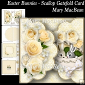 Easter Bunnies - Scallop Gatefold Card