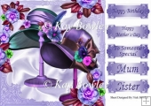 Pretty vintage purple hats on a stand with flowers 8x8