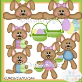 Spring Time Bunnies Brown Clip Art
