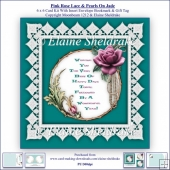 Pink Rose Lace & Pearls On Jade 6 x 6 Card Kit & Insert Envelope