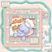 Ellie Brings Cake 8x8 Birthday Decoupage Card Kit