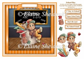 School Boy Off To School - Card Topper With Decoupage