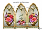 Triple Gothic Arch Folding Screen With A Bouquet Of Flowers