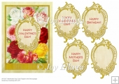 Vintage Floral Valentine's Day with Gold Border Frame