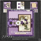 Vintage Lace Flower Purple Card Kit 1224