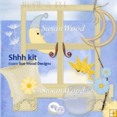 Shh Scrapbook Kit in Blues and Lemon