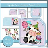 Cupcake Cow Scalloped Corner Card