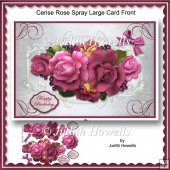 Cerise Rose Spray Large Card Front
