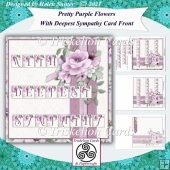 Pretty Purple Roses Sympathy Card Front and Insert