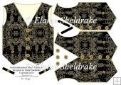 Gold Embroidered Men's Waistcoat Shaped Card Topper & Decoupage