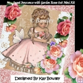 Pretty girl picking some roses with lace and butterflies 8x8 kit