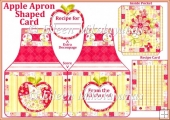 Cottage Chic Recipe Apple Apron Shaped Card with Inside Pocket
