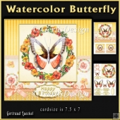 Watercolor Butterfly Floral Wreath topper kit 934