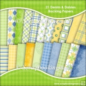 21 Denim & Daisies 12x12 Scrapbook Papers