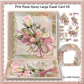 Pink Rose Spray Large Easel Card Kit
