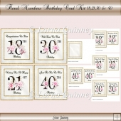 Floral Numbers Birthday Card Kit - ages 18,21,30 & 40